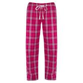 Ladies Dark Fuchsia/White Flannel Pajama Pant-Baker and Taylor