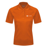 Ladies Orange Textured Saddle Shoulder Polo-Collection HQ