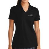 Ladies Nike Golf Dri Fit Black Micro Pique Polo-Axis 360