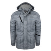 Grey Brushstroke Print Insulated Jacket-Baker and Taylor