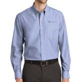 Mens Light Blue Crosshatch Poplin Long Sleeve Shirt-Baker and Taylor