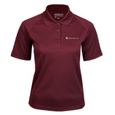 Ladies Maroon Textured Saddle Shoulder Polo-Baker and Taylor