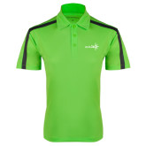 Lime Green Performance Colorblock Stripe Polo-Axis 360