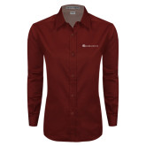 Ladies Maroon Twill Button Down Long Sleeve-Baker and Taylor