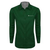 Ladies Dark Green Twill Button Down Long Sleeve-Baker and Taylor