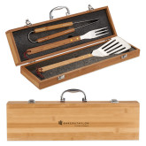 Grill Master 3pc Bamboo BBQ Set-Baker and Taylor Engraved