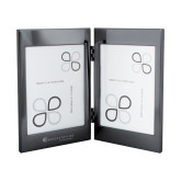 Black Nickel Double Photo Frame-Baker and Taylor Engraved