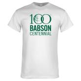 White T Shirt-Centennial Mark Vertical