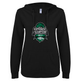 ENZA Ladies Black V Notch Raw Edge Fleece Hoodie-2017 National Basketball Champions