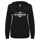 ENZA Ladies Black V Notch Raw Edge Fleece Hoodie-2018 Baseball Champions