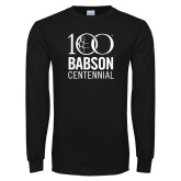 Black Long Sleeve T Shirt-Centennial Mark Vertical