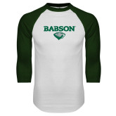 White/Dark Green Raglan Baseball T Shirt-Secondary Mark