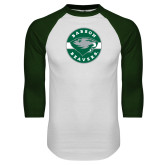 White/Dark Green Raglan Baseball T Shirt-Mascot Design