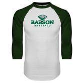 White/Dark Green Raglan Baseball T Shirt-Baseball