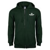 Dark Green Fleece Full Zip Hoodie-Primary Mark