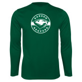 Performance Dark Green Longsleeve Shirt-Mascot Design