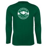 Syntrel Performance Dark Green Longsleeve Shirt-Mascot Design