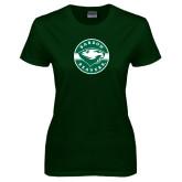 Ladies Dark Green T Shirt-Mascot Design