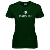 Ladies Dark Green T Shirt-Institutional Mark