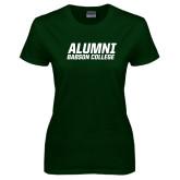 Ladies Dark Green T Shirt-Babson Alumni