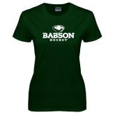 Ladies Dark Green T Shirt-Hockey