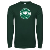 Dark Green Long Sleeve T Shirt-Mascot Design