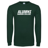 Dark Green Long Sleeve T Shirt-Babson Alumni