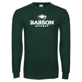Dark Green Long Sleeve T Shirt-Hockey