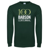 Dark Green Long Sleeve T Shirt-Centennial Mark Vertical