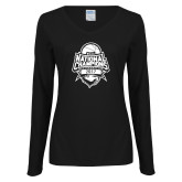 Ladies Black Long Sleeve V Neck T Shirt-2017 National Basketball Champions