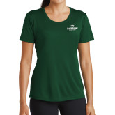Ladies Performance Dark Green Tee-Primary Mark