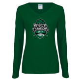 Ladies Dark Green Long Sleeve V Neck T Shirt-2017 National Basketball Champions