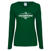 Ladies Dark Green Long Sleeve V Neck Tee-2018 Baseball Champions