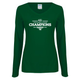 Ladies Dark Green Long Sleeve V Neck Tee-2018 Womens Lacrosse Champions