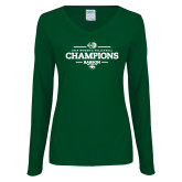 Ladies Dark Green Long Sleeve V Neck Tee-2018 NEWMAC Womens Volleyball Champions