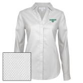 Ladies Red House Diamond Dobby White Long Sleeve Shirt-Secondary Mark