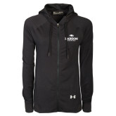 Ladies Under Armour Black Varsity Full Zip Hoodie-Primary Mark