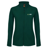 Ladies Fleece Full Zip Dark Green Jacket-Centennial Mark Horizontal