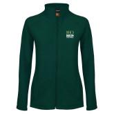 Ladies Fleece Full Zip Dark Green Jacket-Centennial Mark Vertical