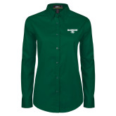 Ladies Dark Green Twill Button Down Long Sleeve-Secondary Mark