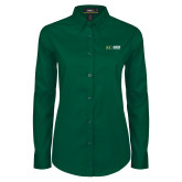 Ladies Dark Green Twill Button Down Long Sleeve-Centennial Mark Horizontal