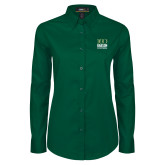 Ladies Dark Green Twill Button Down Long Sleeve-Centennial Mark Vertical