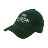 College Dark Green Twill Unstructured Low Profile Hat-Softball