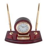 Executive Wood Clock and Pen Stand-Centennial Mark Vertical Engraved
