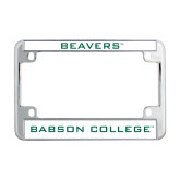 Metal Motorcycle License Plate Frame in Chrome-Beavers