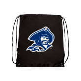 Nylon Black Drawstring Backpack-Buccaneer Head