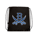 Nylon Black Drawstring Backpack-B w/Swords