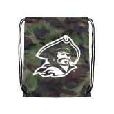 Nylon Camo Drawstring Backpack-Buccaneer Head