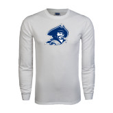 White Long Sleeve T Shirt-Buccaneer Head