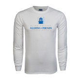 White Long Sleeve T Shirt-Alumni and Friends Assn Stacked